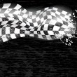 Racing background checkered flag wawing...