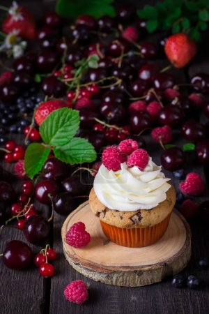 Cupcake and a lot of berries on dark wooden background.