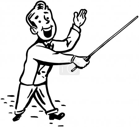 Illustration for Man With Pointer Stick - Royalty Free Image
