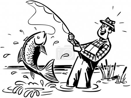 Illustration for Fisherman Catching The Big One - Royalty Free Image