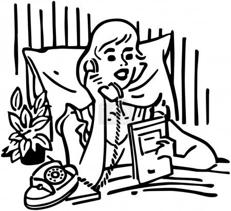 Illustration for Retro Woman calling room service, black and white illustration - Royalty Free Image