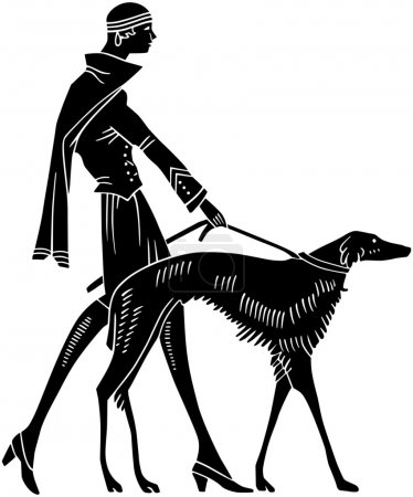 Illustration for Art Deco Woman With Dog - Royalty Free Image