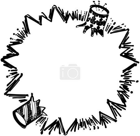 Illustration for Exploding Firecracker Ad Frame - Royalty Free Image