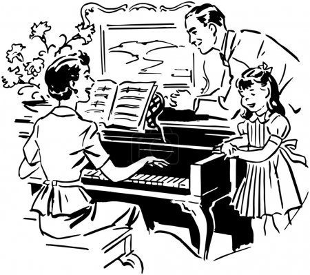 Illustration for Mom Playing Piano - Royalty Free Image