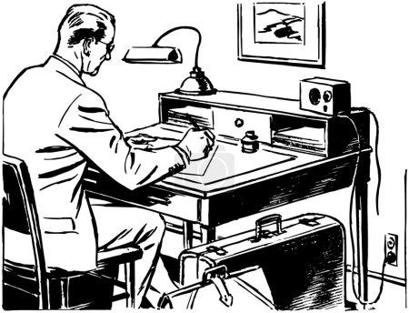Illustration for Man Working At Desk - Royalty Free Image