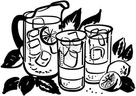 Illustration pour Pichet de limonade et lunettes - image libre de droit
