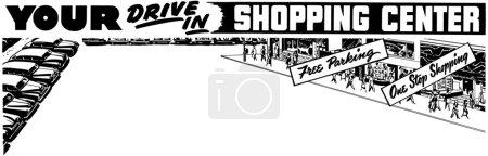 Illustration pour Illustration de parking avec inscription : Your Drive In Shopping Center - image libre de droit