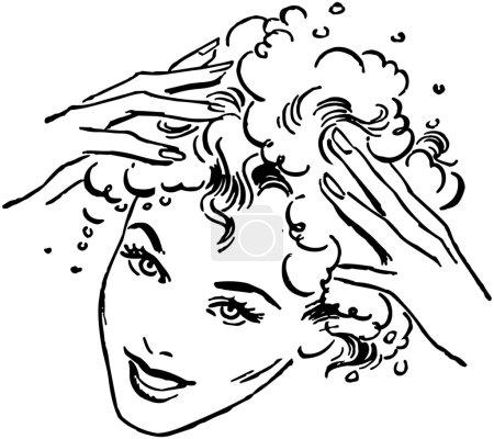 Illustration for Woman Washing Hair, vintage illustration - Royalty Free Image