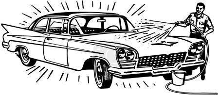 Illustration for Man Washing Car - Royalty Free Image