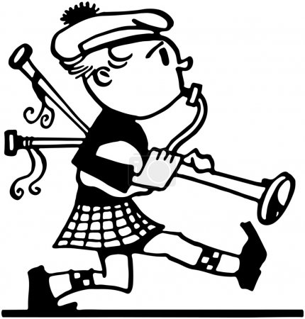 Illustration for Marching Bagpiper - Royalty Free Image