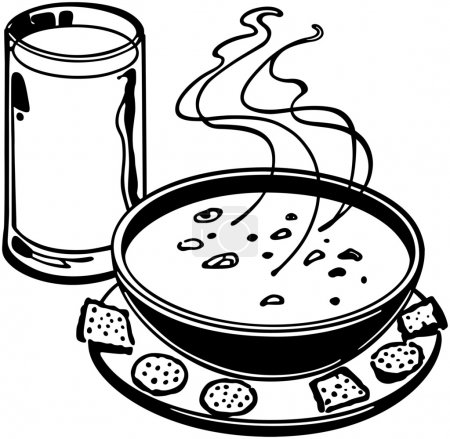 Illustration for Soup And Crackers - Royalty Free Image