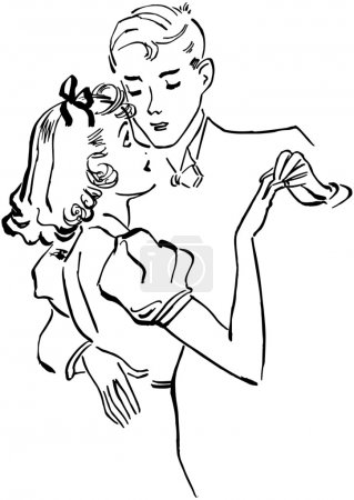 Illustration for Teen Couple Slow Dancing - Royalty Free Image