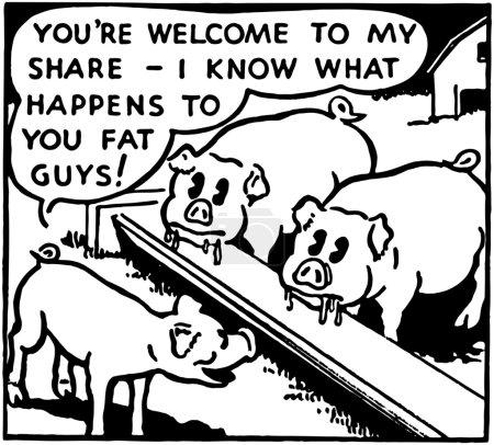 Illustration of pigs on farm