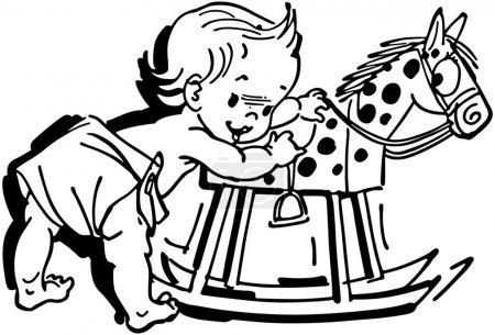 Illustration for Toddler With Rocking Horse - Royalty Free Image