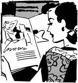Retro Woman Reading Magazine