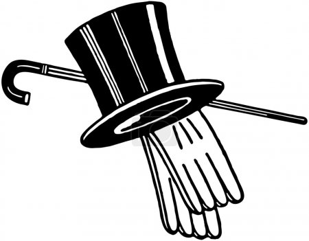 Illustration for Top Hat Gloves And Cane - Royalty Free Image