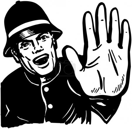 Illustration for Policeman Yelling Stop - Royalty Free Image
