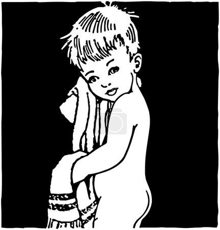 After The Bath - Retro Clipart Illustration
