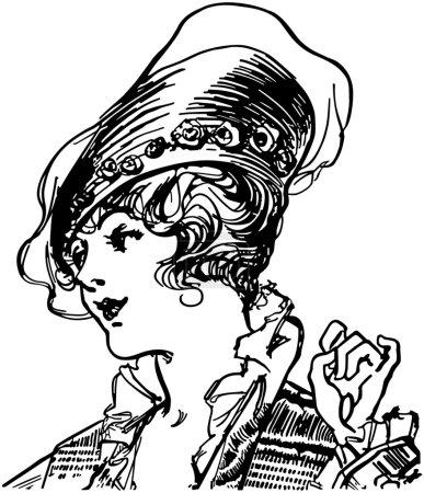 Illustration pour Gal du début du siècle à la mode - image libre de droit