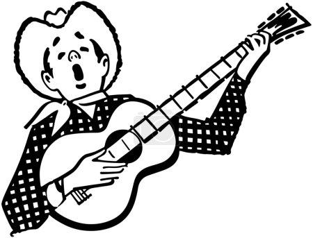 Illustration for Singing Cowboy - Royalty Free Image