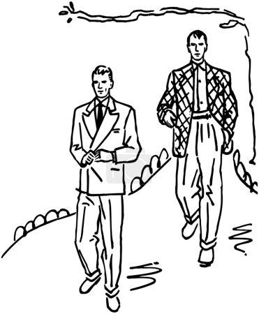 Illustration pour Deux hommes en costume - image libre de droit