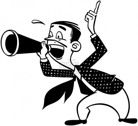 Illustration for Announcer With Megaphone - Royalty Free Image