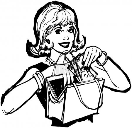 Illustration for Woman take cash in her purse, black and white illustration. isolated on white - Royalty Free Image