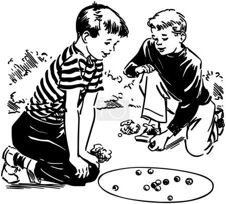 Jeunes garçons jouant les marbres
