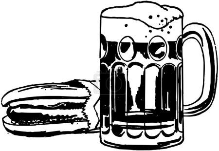 Illustration pour Hot Dog et bière racine - image libre de droit