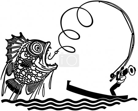 Illustration for Man Catching Big Fish - Royalty Free Image