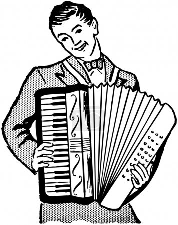 Illustration for Accordion Player. Retro Clip Art, black and white - Royalty Free Image