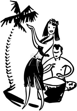 Illustration for Hawaiian Couple - Royalty Free Image