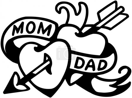 Illustration for Mom And Dad Tattoo - Royalty Free Image
