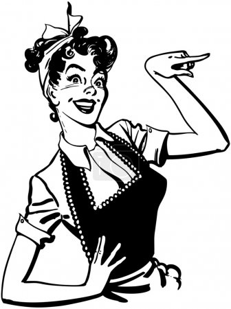 Illustration for Pointing Housewife - Royalty Free Image