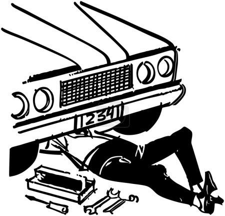 Illustration for Mechanic Under Car - Royalty Free Image