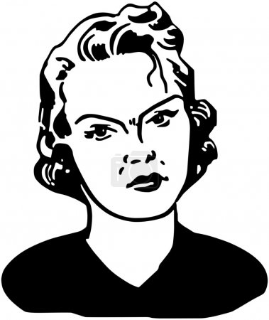 Illustration for Angry Woman - Retro Clipart Illustration, black and white - Royalty Free Image