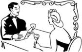 Classy Couple Dining in restaurant Black and white illustration
