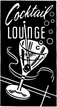 Illustration for Black and white banner with text - Cocktail Lounge - Royalty Free Image
