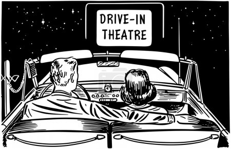Illustration of romantic couple in car with text