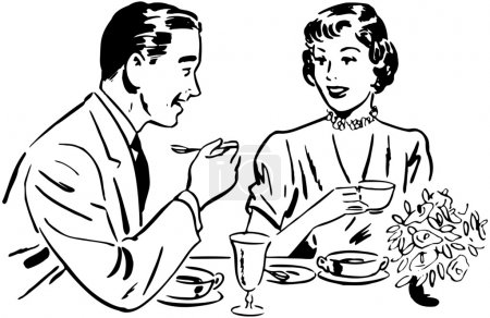 Photo for Black and white illustration of Couple on dinner - Royalty Free Image