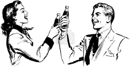 Illustration of happy Couple who Toasting