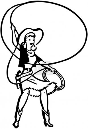 Cowgirl With Lasso,  black and white illustration...