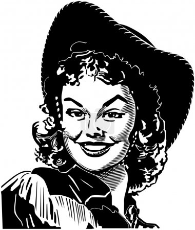 Photo for Cute Cowgirl smiling, black and white vintage illustration - Royalty Free Image