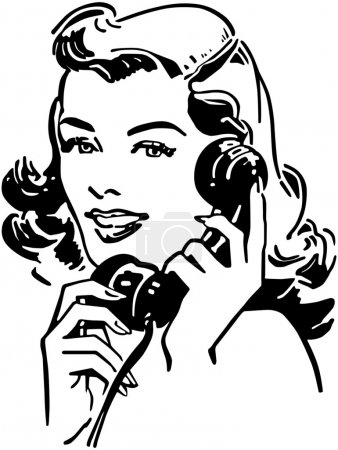 Cute Gal talking on Phone, retro black and white i...