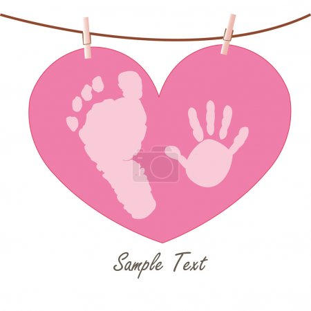 Illustration pour Empreintes main et pieds bébé avec vecteur de carte de vœux coeur - image libre de droit