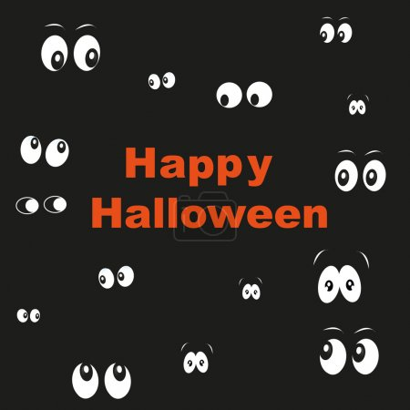 Happy Halloween greeting card with glowing in the dark eyes