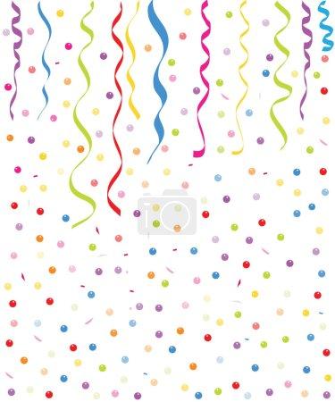 Illustration pour Coloré petit vecteur fond de ballons et de confettis - image libre de droit