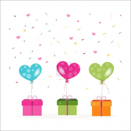 Illustration for Colorful gift box and heart balloons with confetti vector - Royalty Free Image