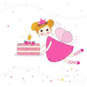 Lovely fairy with birthday cake vector background