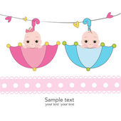 Twin baby boy and girl with umbrella greeting card